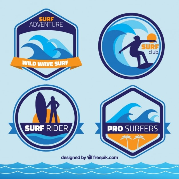 Collection of surf badge Free Vector