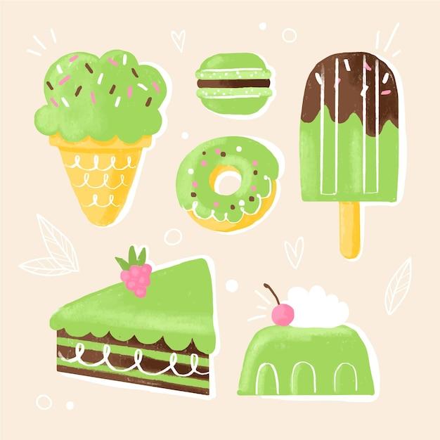 Коллекция сладких десертов матча Бесплатные векторы