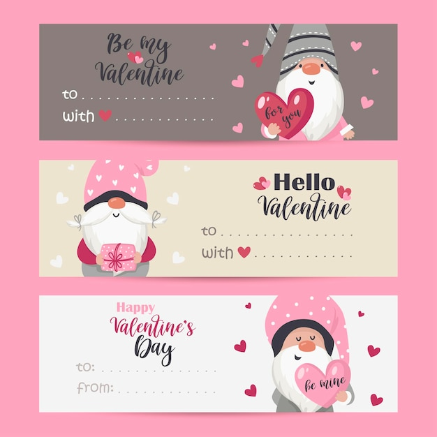 バレンタインノームと休日の願いのタグのコレクション。印刷可能なカードテンプレート。 Premiumベクター