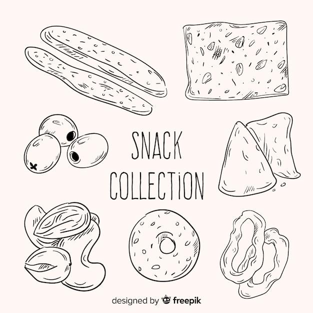 Коллекция вкусных закусок Бесплатные векторы