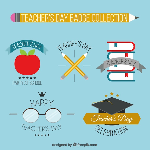 Collection of teacher\'s day badges