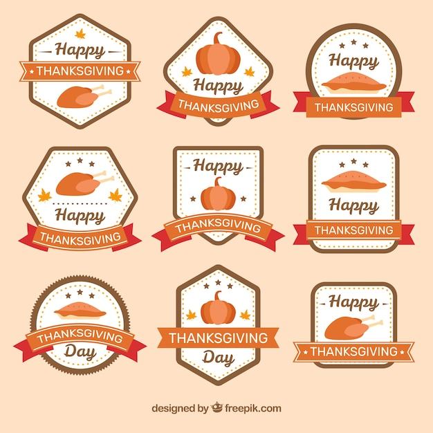 Collection of thanksgiving stickers in retro style