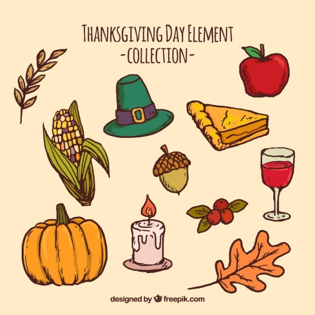 Collection of thanksgiving traditional elements