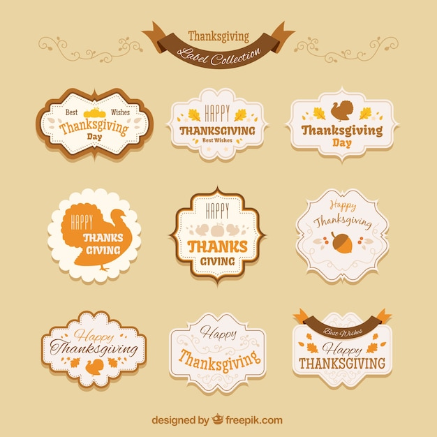 Collection of thanksgiving vintage badges