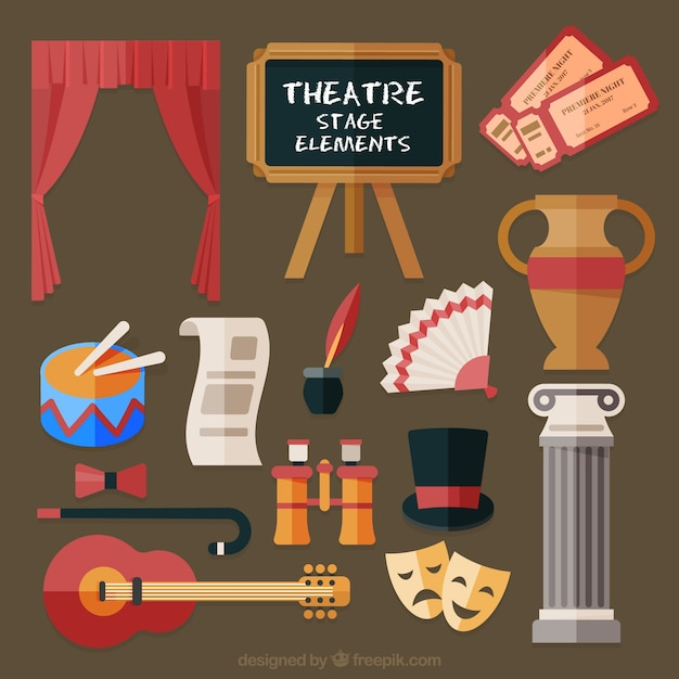 elements of theater To sum up, the following are the major elements of theater: 1) performers 2) audience 3) director 4) theater space 5) design aspects (scenery, costume, lighting, and sound.