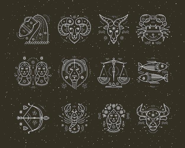 Коллекция астрологии тонкой линии и символов зодиака. графические элементы. Premium векторы