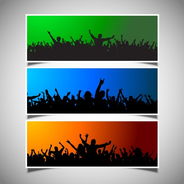 Collection of three different crowd silhouettes\ on colourful backgrounds