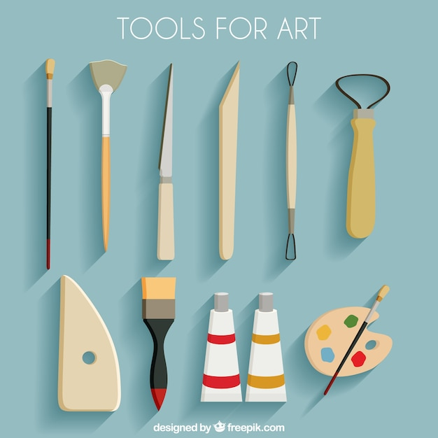 Collection Of Tools For Art Vector Free Download