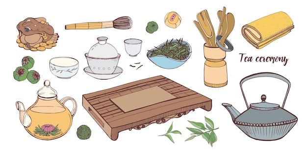 Коллекция инструментов для традиционной азиатской чайной церемонии изолирована Premium векторы