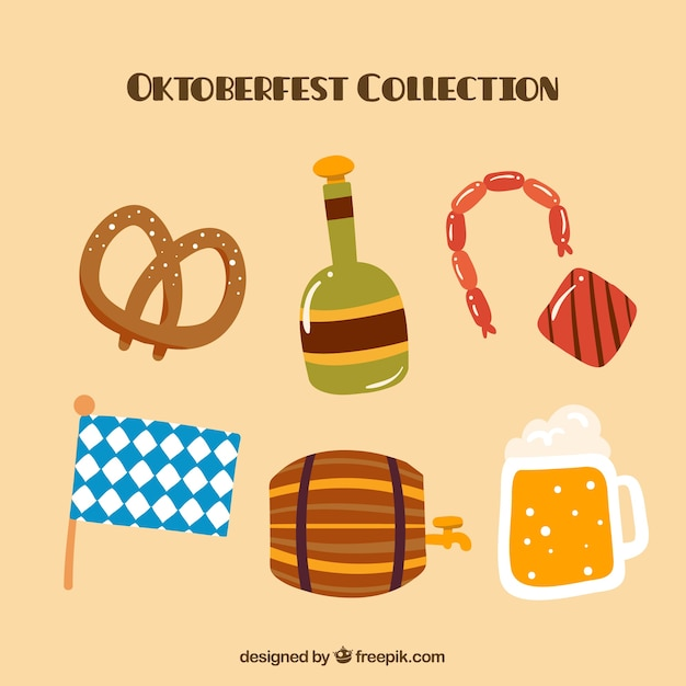 Collection of traditional elements of oktoberfest