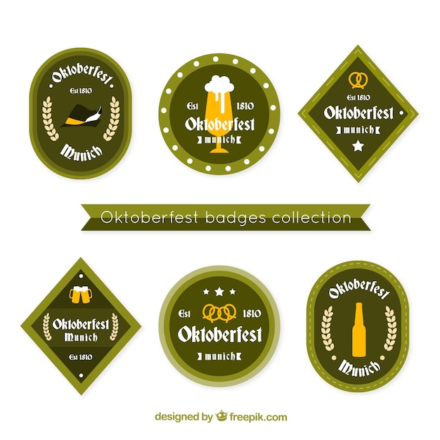 Collection of traditional oktoberfest badges