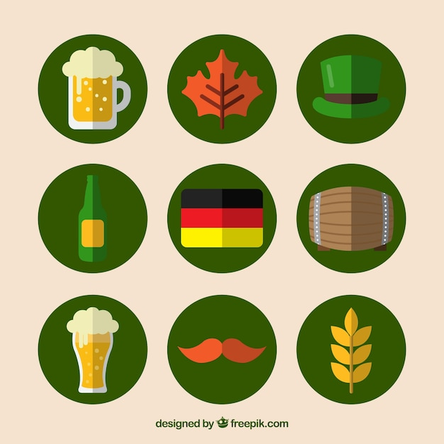 Collection of traditional oktoberfest elements in flat design