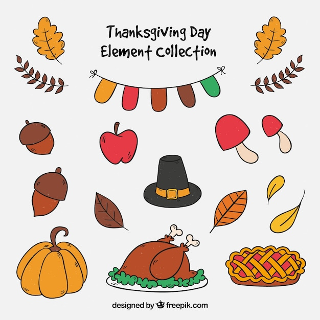 Collection of traditional thanksgiving elements