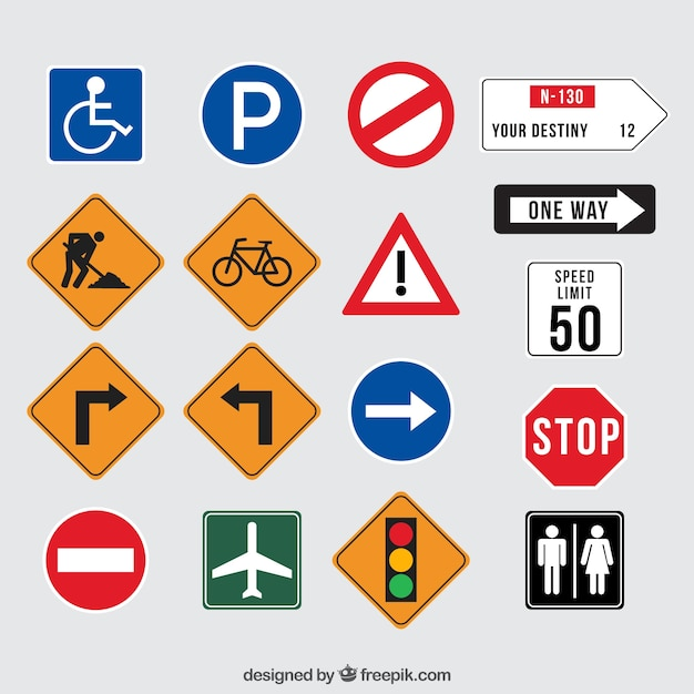 Collection of traffic signs Premium Vector