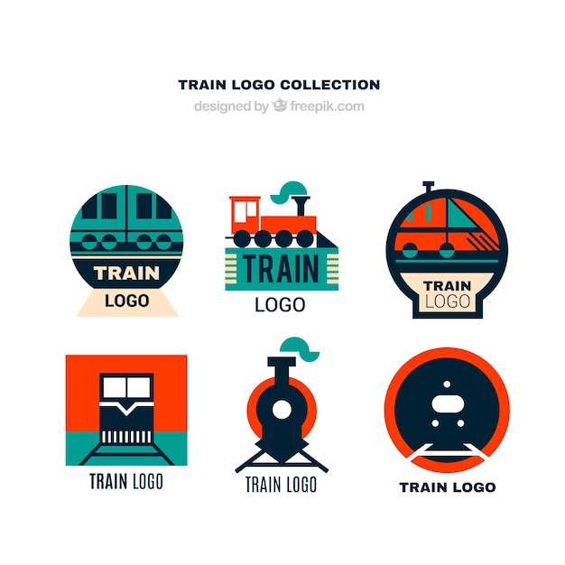 collection of train logos in flat design vector free download. Black Bedroom Furniture Sets. Home Design Ideas