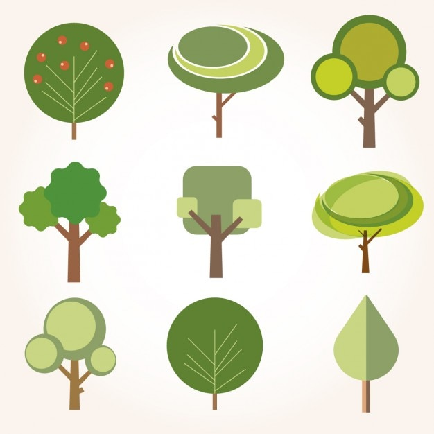 collection of trees in flat design vector free download rh freepik com vector trees plan vector trees outline