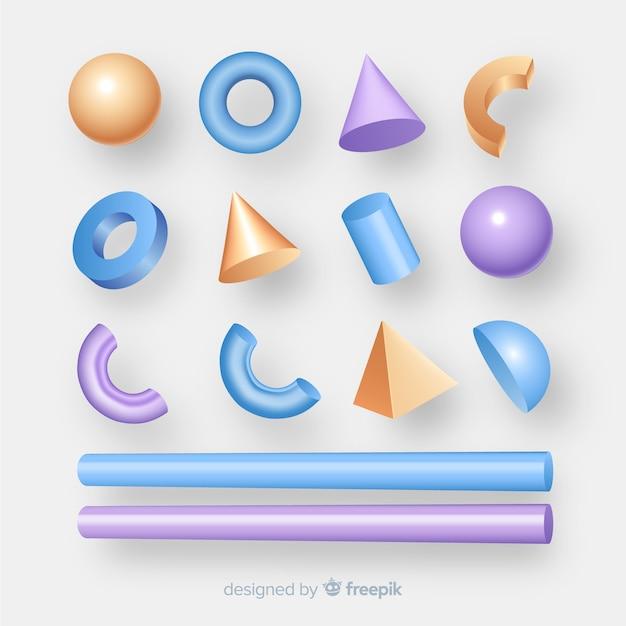 Коллекция трехмерных геометрических фигур Бесплатные векторы