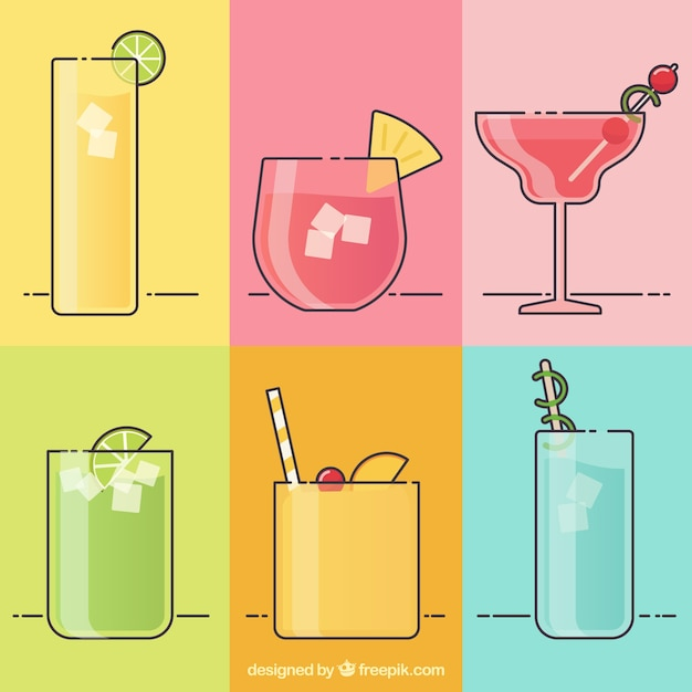 Collection of tropical drink in linear\ style