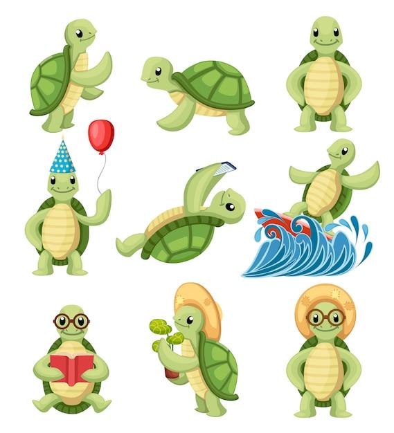 Сборник мультяшных черепах с персонажами мультфильмов. маленькие черепахи делают разные вещи. иллюстрация на белом фоне Premium векторы