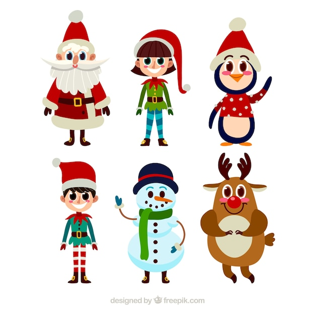 Collection of typical christmas characters in cartoon style
