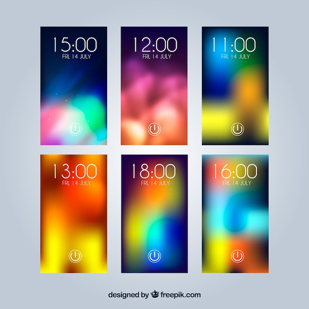 Collection of unfocused colorful wallpapers for mobile