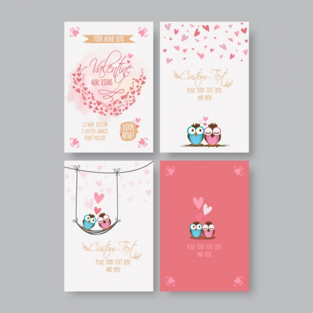 Collection of valentine's cards with cute owls Premium Vector
