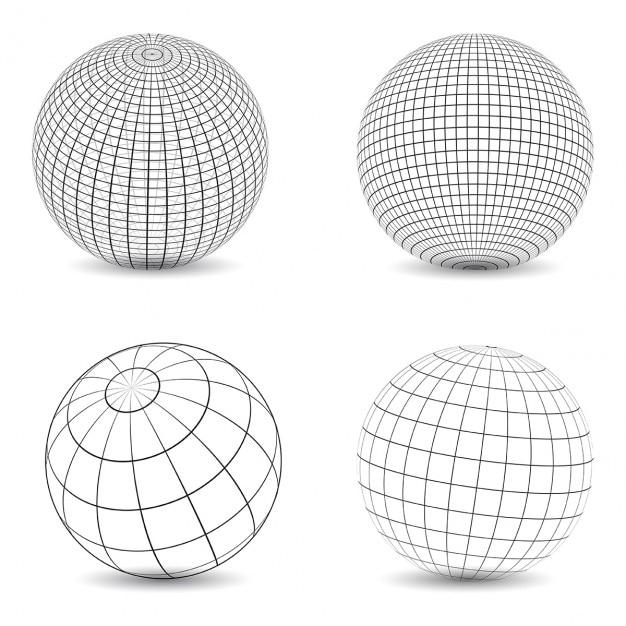 Collection of various designs of wireframe globes Free Vector
