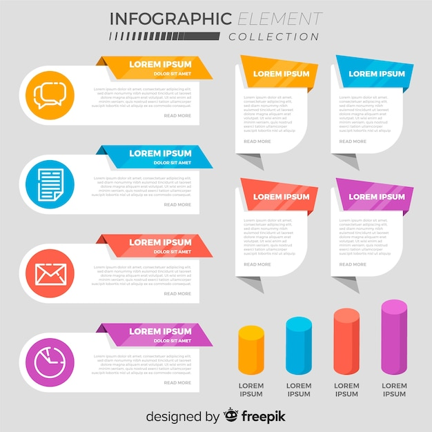 Collection of various flat infographic elements Free Vector