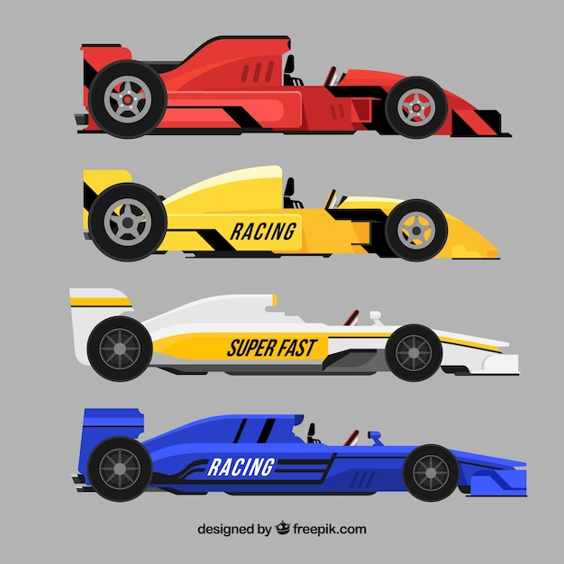 Collection of various formula 1 cars
