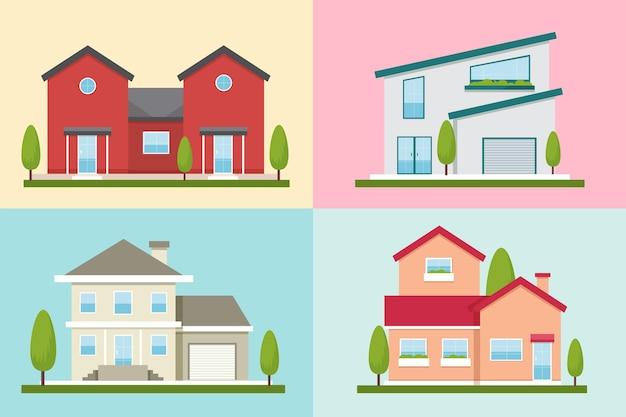 다양한 현대 주택 모음 프리미엄 벡터