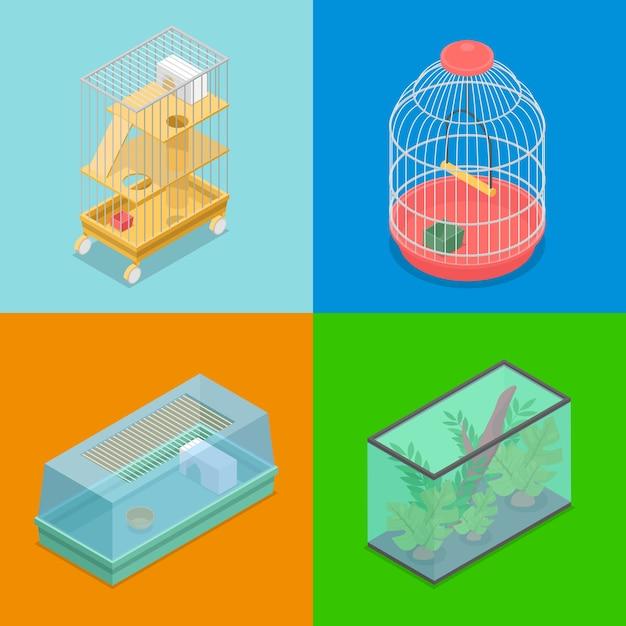 Сбор различных переноски для домашних животных Premium векторы