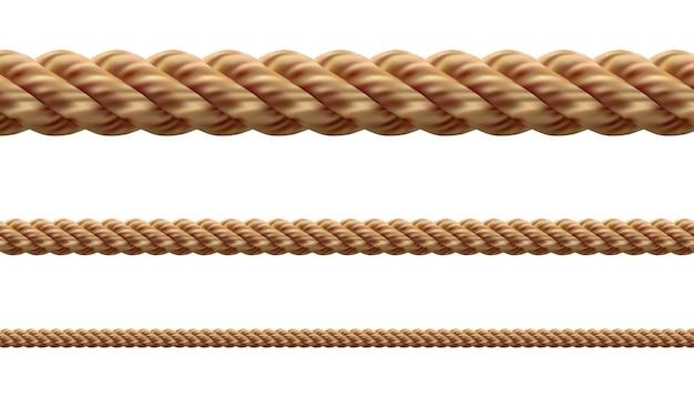 白い背景にさまざまなロープ文字列のコレクション。それぞれが別々に撮影されます Premiumベクター