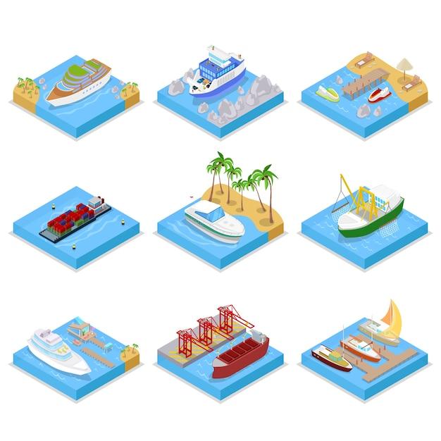 Коллекция различных типов кораблей Premium векторы