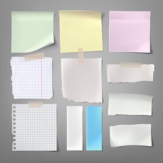 Collection of vector illustrations paper notes of various types Free Vector
