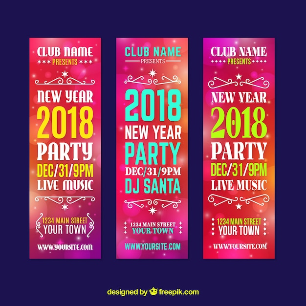 Collection of vertical new year party banners in pink tones Free Vector