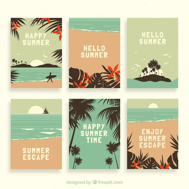 Collection of vintage beach card