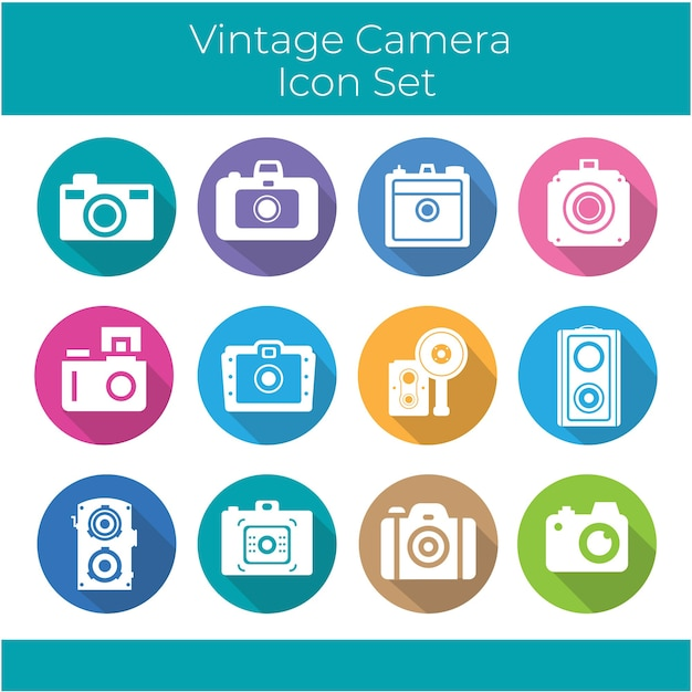 Collection of vintage camera inside colored circles
