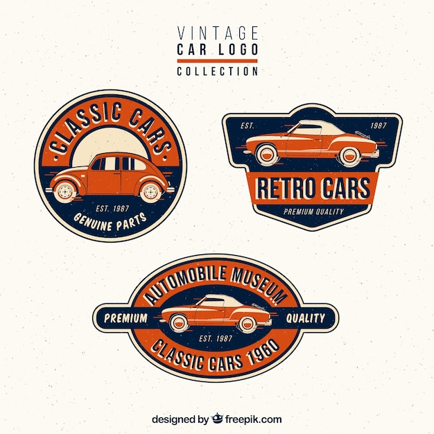 collection of vintage car logos vector free download