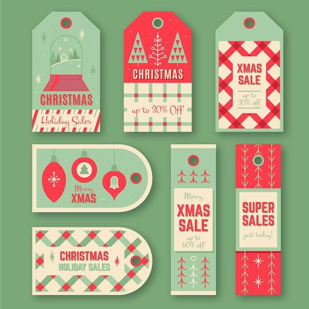 Коллекция старинных рождественских тегов распродажи Бесплатные векторы