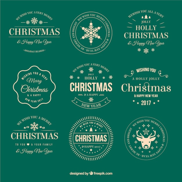 Collection of vintage christmas stickers Free Vector