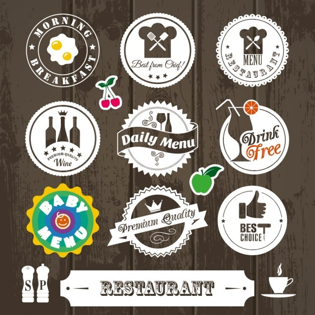 Collection Of Vintage Cute Restaurant Sticker Vector