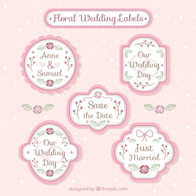 Collection of vintage decorative wedding badge