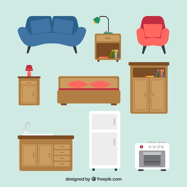 Collection of vintage furniture and appliances in flat - Electrodomesticos retro ...