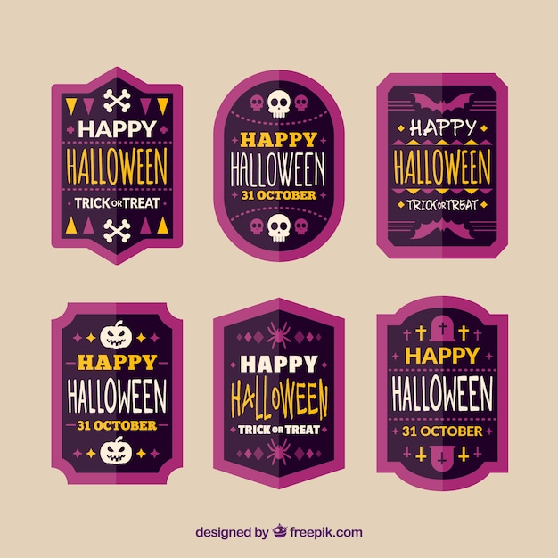 Collection of vintage halloween stickers in flat design Free Vector