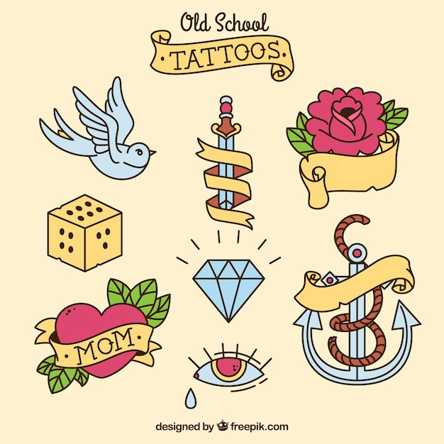 Collection of vintage hand drawn decorative tattoos Free Vector