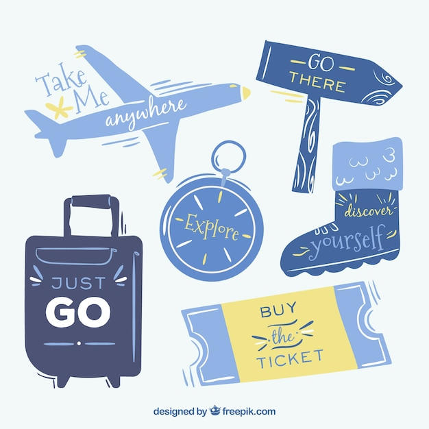 Collection of vintage hand drawn travel sticker
