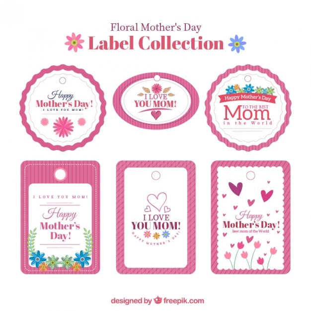 Collection of vintage happy mother\'s day\ label