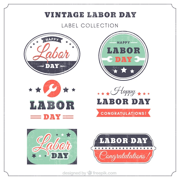 Collection of vintage labor day sticker