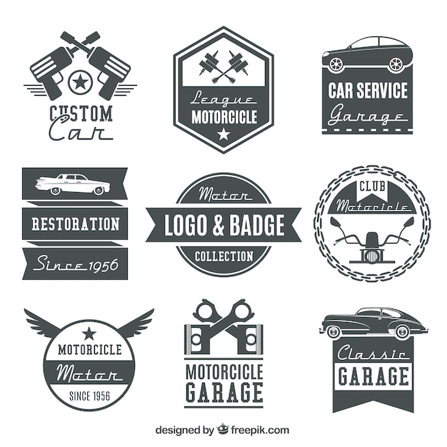 Collection of vintage motorcycle logos and\ badges