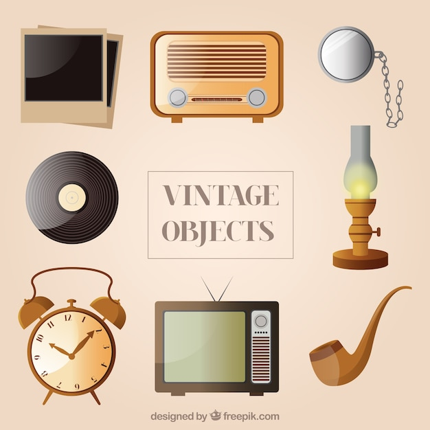 Collection of vintage objects vector free download - Objet vintage occasion ...